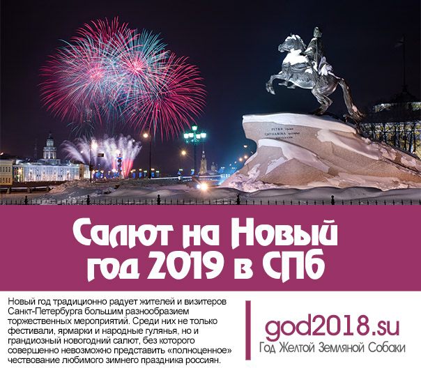 Salute to the New Year 2019 in St. Petersburg